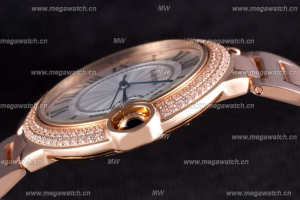 Cartier Ballon Bleu 42mm White Dial Diamonds Pink Gold Case Replica Review