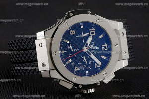 Swiss Hublot Big Bang Carbon Effect Dial Silver Case Black Rubber Bracelet Replica Watch