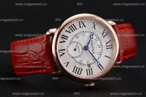 Cartier Ronde Louis Cartier White Dial Gold Case Red Leather Strap Cartier Replica