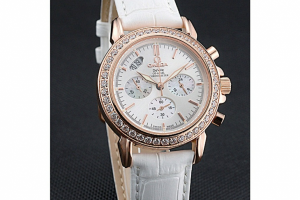 Omega Speedmaster Chronograph White Dial Gold Diamond Case Replica