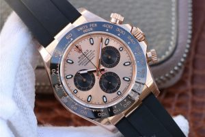 Replica Rolex Daytona 116515 Rose Gold with Super Clone 4130 Movement Black Rubber Strap